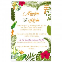 Carton Change The Date mariage tropical