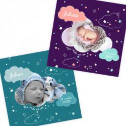 Faire-part de naissance nuages