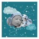 Faire-part de naissance nuages bleu recto