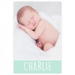 """Faire-part de naissance """"Charlie"""" vert menthe recto"""