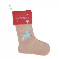 Chaussette de Noël à suspendre entièrement personnalisée renne et étoiles