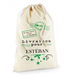Hotte de Noël personnalisée sac postal noir et vert
