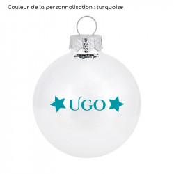 boule de Noël blanche en verre personnalisée turquoise