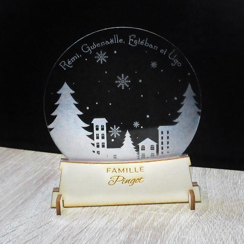 Boule à neige personnalisée en bois et acrylique