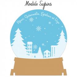 Boule à neige personnalisée en bois et acrylique modèle Sapins