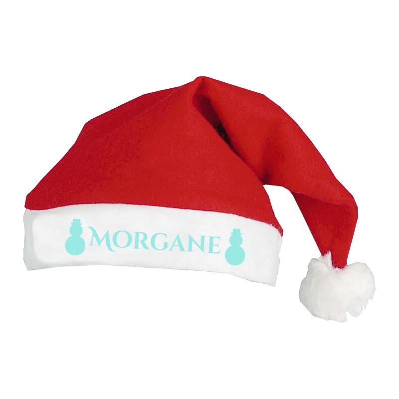 Bonnet de Noël personnalisé motif Bonhomme de neige bleu