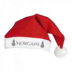 Bonnet de Noël personnalisé motif Bonhomme de neige argent