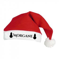 Bonnet de Noël personnalisé motif Bonhomme de neige noir