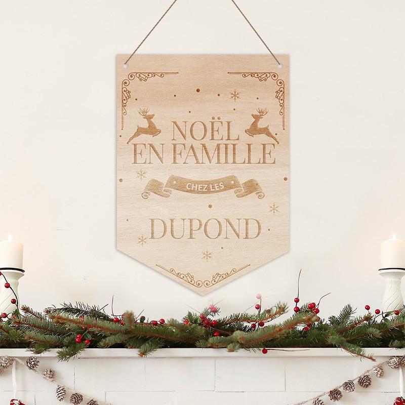 Fanion de Noël en bois personnalisé modèle Rennes - Noël en Famille