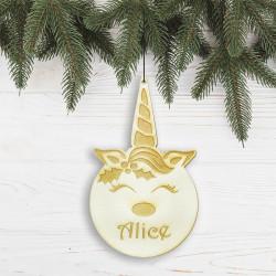 Suspension personnalisée en forme de boule Noël Licorne en bois