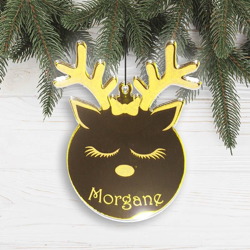 Suspension personnalisée en forme de boule Noël Renne fille en acrylique miroir or