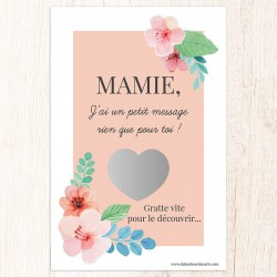 Carte à gratter message pour mamie personnalisable