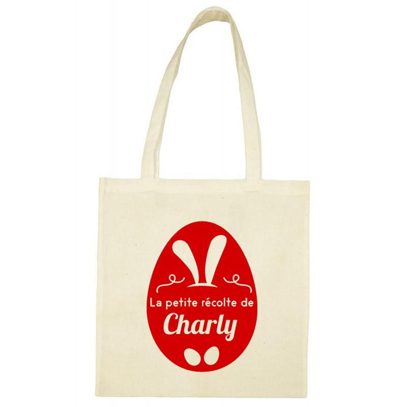 Tote Bag de Pâques personnalisé - Œuf festif rouge