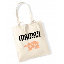 Tote Bag Maman ours orange pailleté