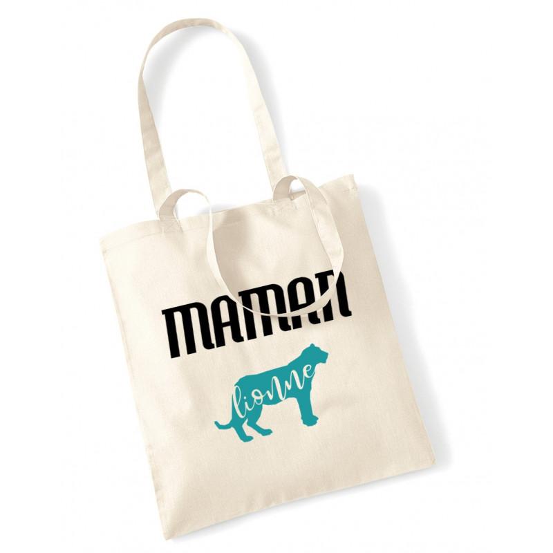 Tote Bag Maman lionne bleu