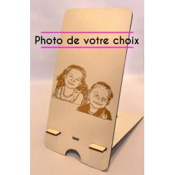 Support de téléphone personnalisé en bois gravé photo au choix