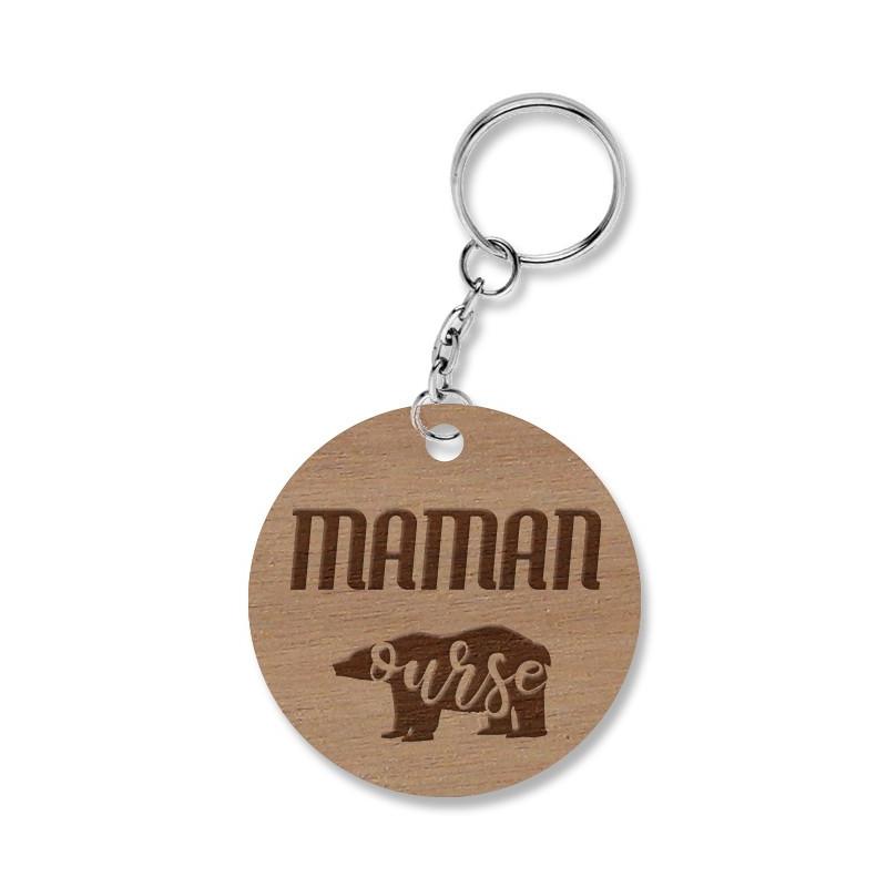 Porte-clé rond en bois gravé Maman ourse