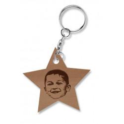 Porte-clé étoile en bois une photo gravée