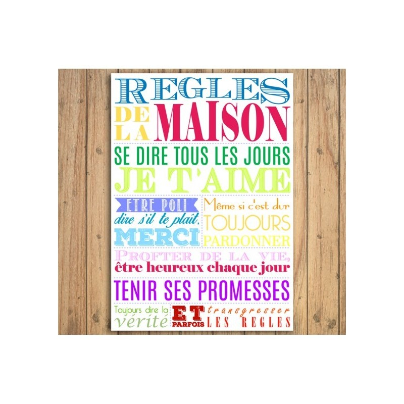 Affiche Regles De La Maison Multicolore