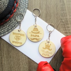 Porte-clés fête des pères en bois gravé