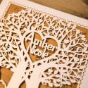 Faire-part ciselé silhouette couple et arbre à cœur ivoire et kraft et personnalisation des prénoms