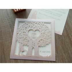 Faire-part ciselé silhouette couple et arbre à cœur rose pale et ivoire et personnalisation des prénoms