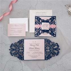 Faire-part ciselé baroque chic symétrique 2 rabats bleu et rose