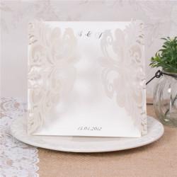 Faire-part ciselé baroque chic symétrique 2 rabats blanc