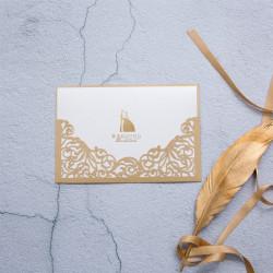 Faire-part ciselé arabesques somptueuses or nacré