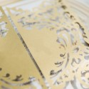 Faire-part ciselé portes princières 2 rabats or nacré et blanc