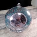 Boule de Noël personnalisée pommes de pin bleu et argent