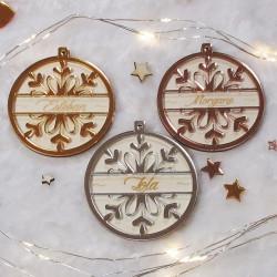 Boule de Noël personnalisée flocon en bois et plexiglas miroir