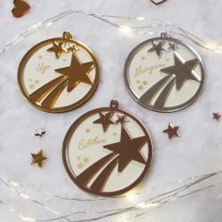 Boule de Noël personnalisée étoiles en bois et plexiglas miroir