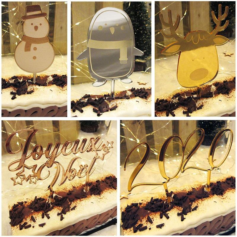 Cake toppers Noël ou jour de l'an pour bûche ou gâteau