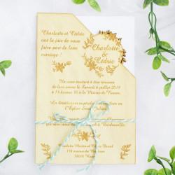 Faire-part de mariage en bois - Couronne de fleurs