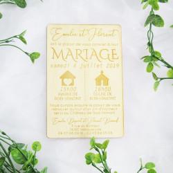 Faire-part de mariage en bois plusieurs typographies