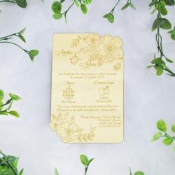 Faire-part de mariage en bois fleuri