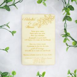 Faire-part de mariage en bois - Eucalyptus
