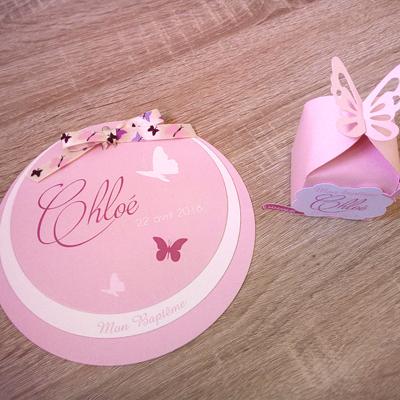 Faire-part et boîte à dragées thème papillons