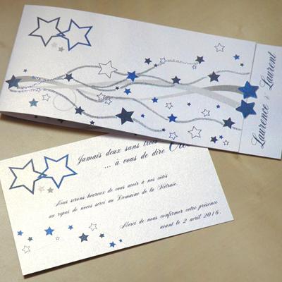 Faire-part thème étoiles avec paillettes bleu, blanc et argent