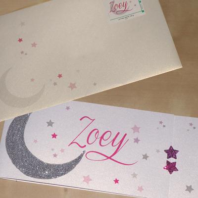 Faire-part et enveloppe thème lune et étoiles avec paillettes